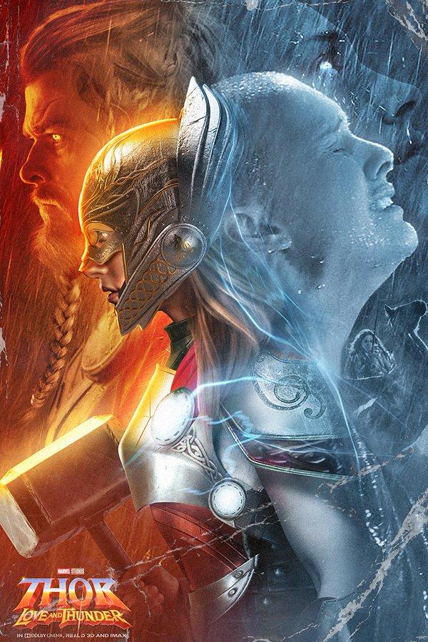 BossLogic нарисовал крутой постер «Тора: Любовь игром» сКрисом Хемсвортом иНатали Портман
