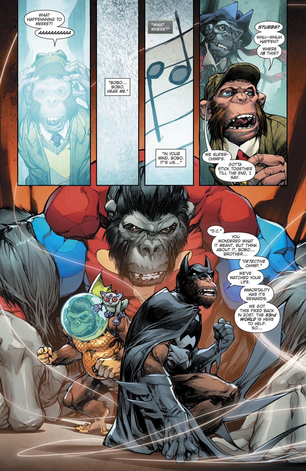 Вкомиксе Dark Nights: Metal представили 53 вселенную, иона населена разумными приматами!. - Изображение 1